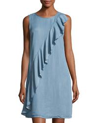 Ruffled chambray shift dress blue medium 3744360