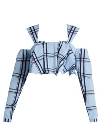 House of Holland Ruffled Checked Cotton Cropped Top