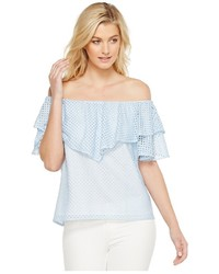 Heather Tia Trellis Lace Ruffle Off The Shoulder Top Clothing