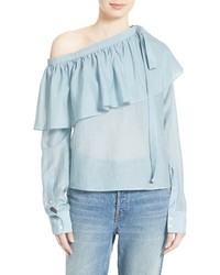 Light Blue Ruffle Long Sleeve Blouse
