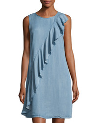 Light Blue Ruffle Shift Dress