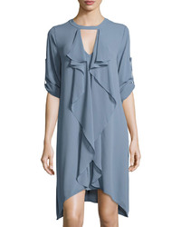 Cascade ruffle shift dress light blue medium 3756740