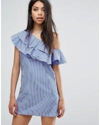 One shoulder ruffle shift dress medium 3748805