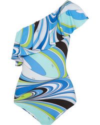 Emilio Pucci Libellula Ruffled One Shoulder Printed Swimsuit Blue