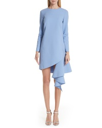 Oscar de la Renta Asymmetrical Ruffle Hem Stretch Wool Dress