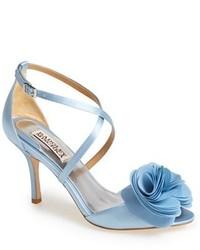 Light Blue Satin Heeled Sandals