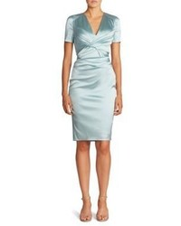 Light blue satin midi dress