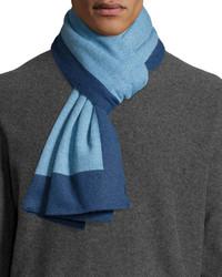 Portolano Cashmere Colorblock Scarf Indigobelf Blue
