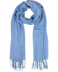 Mila Schon Light Blue Wool And Cashmere Fringed Stole