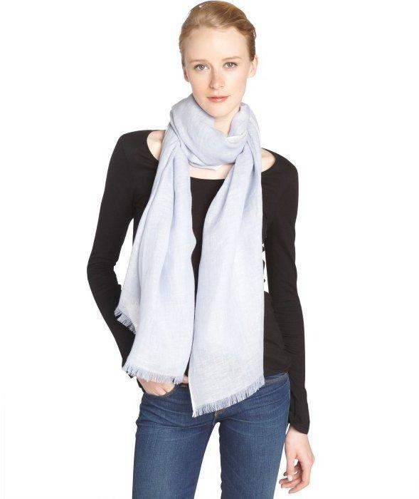 tom ford light blue and white linen silk blend scarf