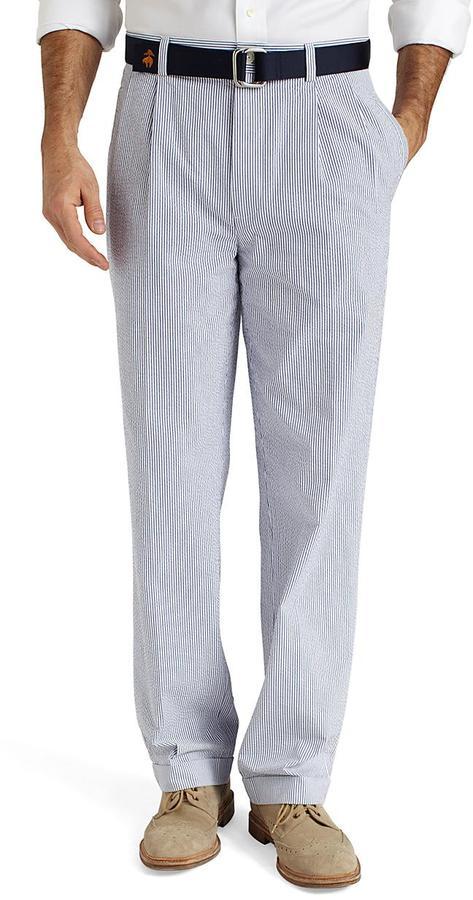 Brooks Brothers Elliot Pleat Front Seersucker Pants 98 Brooks