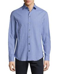 Seersucker sport shirt blue medium 925620
