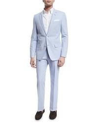 Hugo Boss Boss Hedson Gander Seersucker Two Piece Suit Blue