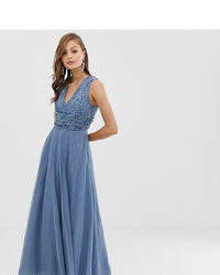 ASOS DESIGN Bridesmaid Maxi Dress With Pearl And Sequin Drape Bodice