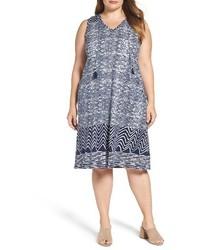 Plus size blue batik shift dress medium 3694691