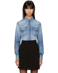 Saint Laurent Blue Denim Western Heart Studded Shirt