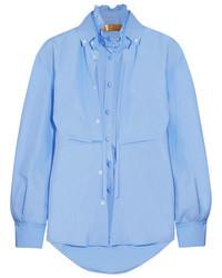 Golden Goose Deluxe Brand Deborah Layered Cotton Poplin Shirt Sky Blue