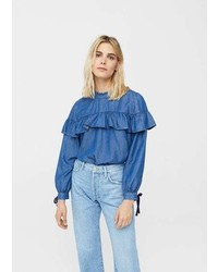 Mango Frilled Denim Shirt