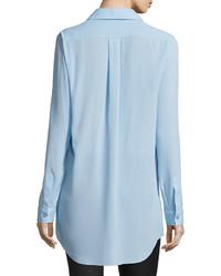 Michael Kors Michl Kors Long Sleeve Button Front Long Shirt Ice