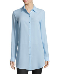 Michael Kors Michl Kors Long Sleeve Button Front Long Shirt Ice