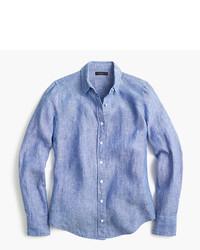 J.Crew Petite Slim Perfect Shirt In Cross Dyed Irish Linen