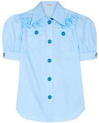 Miu Miu Ruffled Cotton Oxford Shirt Light Blue