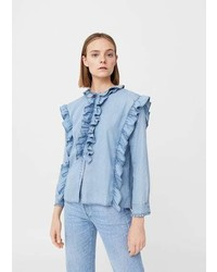 Mango Ruffled Denim Shirt