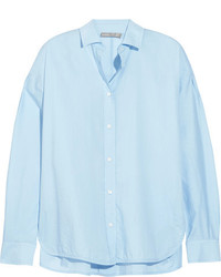Vince Split Side Cotton Shirt Sky Blue