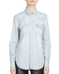 Saint Laurent Studded Shoulder Denim Western Shirt