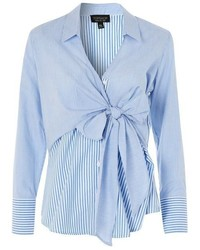 Topshop Tie Wrap Poplin Shirt