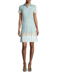 Tory Burch Emmy Short Sleeve Pleated Shirtdress Shore Samo