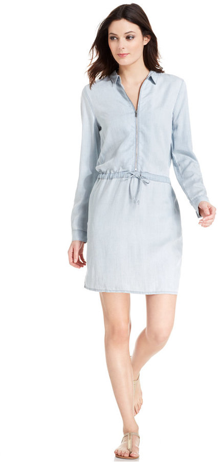 91cfc46161c ... Light Blue Shirtdresses Calvin Klein Jeans Long Sleeve Denim Shirtdress