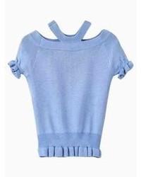 Light blue waisted knit t shirt medium 65298