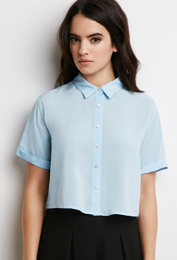 23dbbb34 Forever 21 Boxy Cropped Shirt, $12 | Forever 21 | Lookastic.com