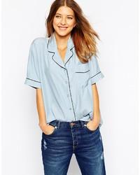 Ganni Seersucker Silk Short Sleeve Shirt