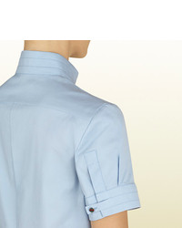 322a0ee9c Gucci Sky Blue Short Sleeve Shirt From Equestrian Collection, $495 ...