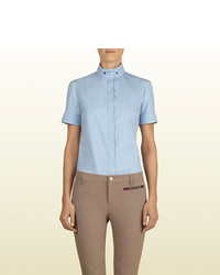 Gucci Sky Blue Short Sleeve Shirt From Equestrian Collection