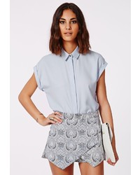 Missguided Ellessa Short Sleeve Shirt Baby Blue