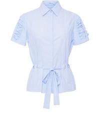 Blumarine Ruched Short Sleeve Shirt With Belt