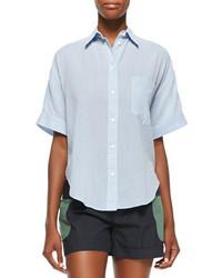 Band Of Outsiders Short Sleeve Grandpa Cotton Shirt