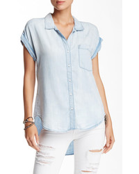 Sneak Peek Denim Short Sleeve Chambray Button Down
