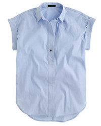 J.Crew Tall Short Sleeve Popover Shirt In Oxford Blue