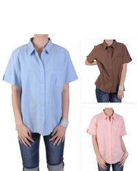Tressa Designs Point Collar Button Up Camp Shirt