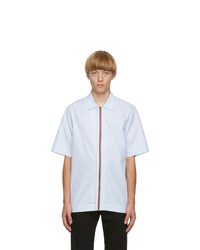 Paul Smith Blue Artist Stripe Placket Short Sleeve Shirt
