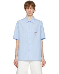 Gucci Blue Embroidered Graphic Short Sleeve Shirt