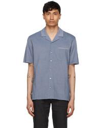 Ermenegildo Zegna Blue Jacquard Short Sleeve Shirt