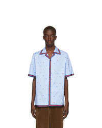 Gucci Blue Multi Icon Bowling Shirt