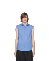 Dries Van Noten Blue Sleeveless Shoulder Pad Shirt