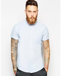 Asos Brand Oxford Shirt In Blue With Short Sleeves