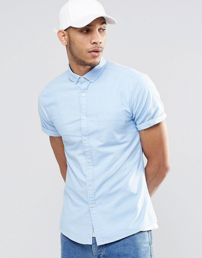 ... Asos Brand Skinny Oxford Shirt In Blue With Short Sleeves